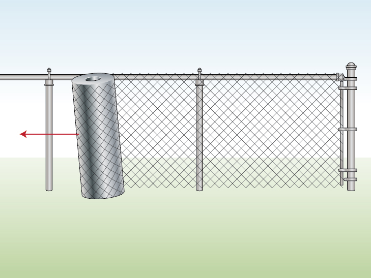 unrolling-chain-link-along-fence