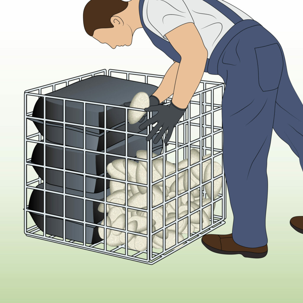 filling-gabion-basket-with-rubble-bags-and-decorative-stone
