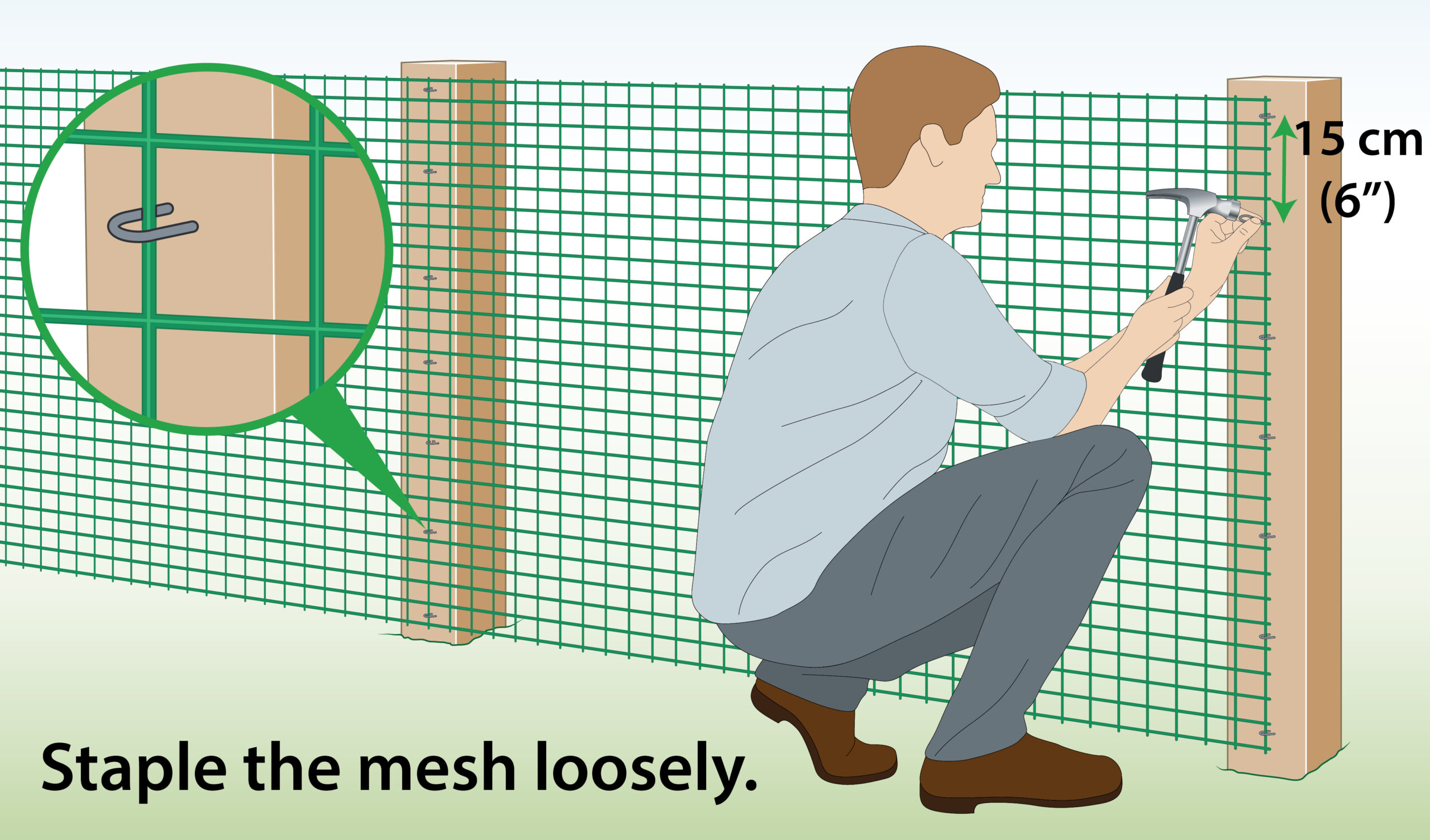 attach-plastic-mesh-to-wooden-posts-with-staples