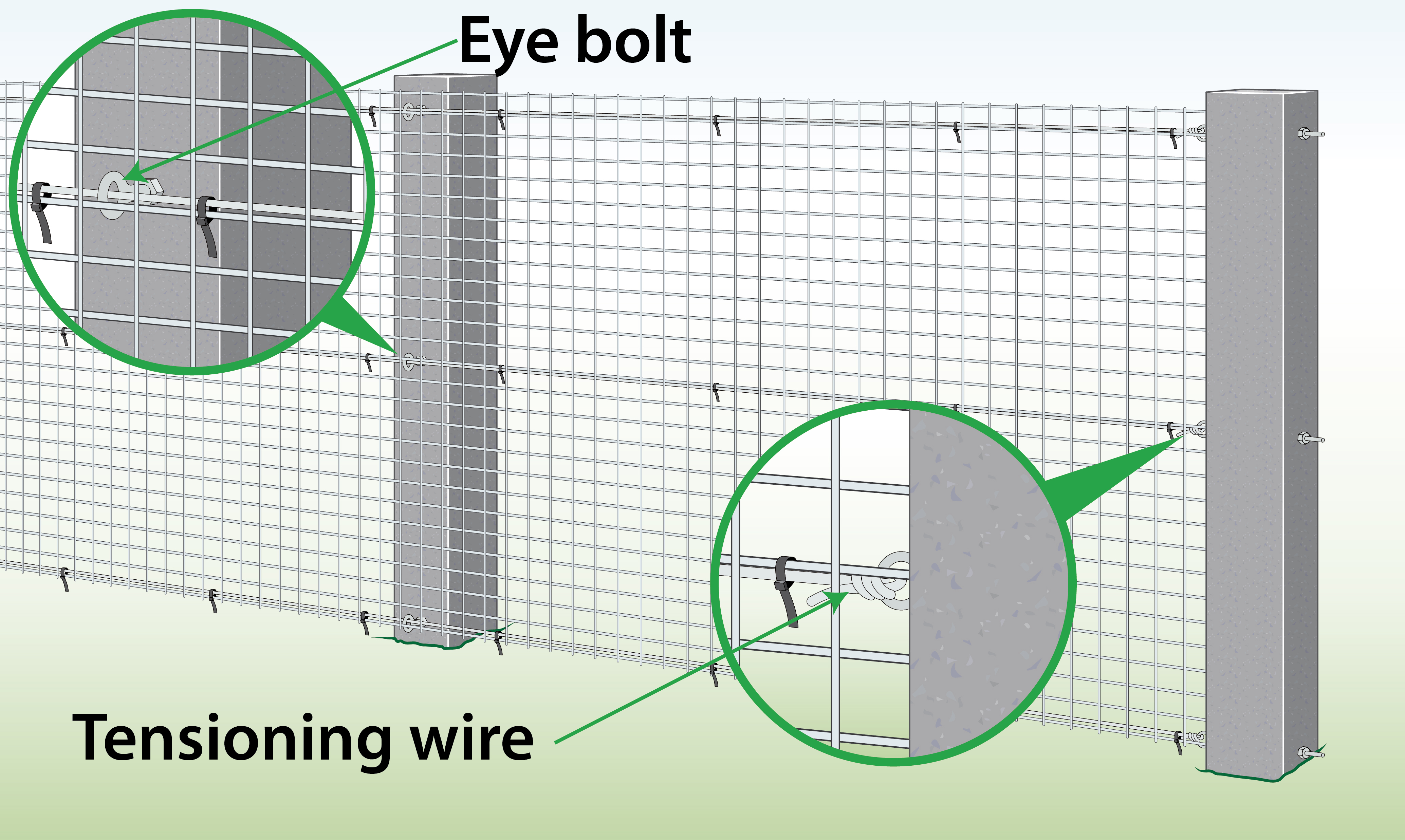 fix-welded-mesh-to-concrete-posts-with-eye-bolts