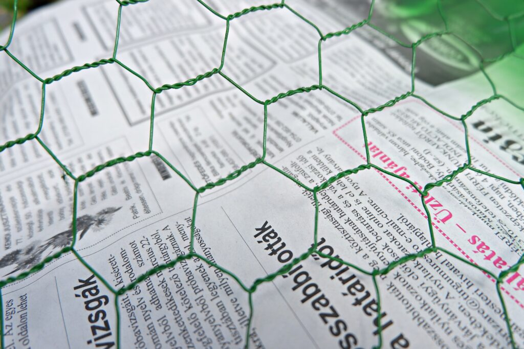 green-chicken-wire-over-newspapers