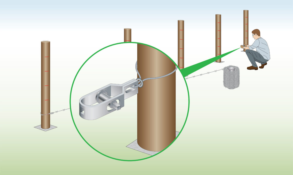 fix-radisseur-to-barbed-wire-post