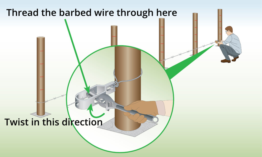 tensioning-barbed-wire-with-radisseur-and-wrench